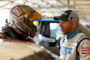 FORT WORTH, TEXAS - JUNE 06: Brett Moffitt, driver of the #24 Central Plains Cement Company Chevrolet, and Ross Chastain, driver of the #38 Niece Equipment Chevrolet, stand in the garage during practice for the NASCAR Gander Outdoors Truck Series SpeedyCash.com 400 at Texas Motor Speedway on June 06, 2019 in Fort Worth, Texas. (Photo by Sean Gardner/Getty Images)