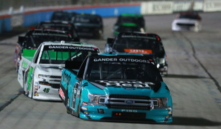 FORT WORTH, TX - MARCH 29:  Johnny Sauter, driver of the #13 Tenda Heal Ford, leads a pack of cars during the NASCAR Gander Outdoors Truck Series Vankor 350 at Texas Motor Speedway on March 29, 2019 in Fort Worth, Texas.  (Photo by Sean Gardner/Getty Images)