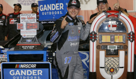 SPARTA, KENTUCKY - JULY 11: Tyler Ankrum, driver of the #17 Acadmey Sports  Outdoors/RAILBLAZA Toyota, celebrates in Victory Lane after winning the NASCAR Gander Outdoor Truck Series Buckle Up In Your Truck 225 at Kentucky Speedway on July 11, 2019 in Sparta, Kentucky. (Photo by Brian Lawdermilk/Getty Images)