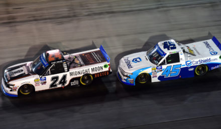BRISTOL, TENNESSEE - AUGUST 15: Brett Moffitt, driver of the #24 Midnight Moon Moonshine Chevrolet, leads Ross Chastain, driver of the #45 CarShield Chevrolet, during the NASCAR Gander Outdoor Truck Series UNOH 200 presented by Ohio Logistics at Bristol Motor Speedway on August 15, 2019 in Bristol, Tennessee. (Photo by Jared C. Tilton/Getty Images)