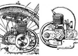 El primer, modesto producto hizo historia. Aquí se lo ve de ambos lados, e instalado de la manera más usual, sobre el costado derecho de la rueda trasera de una bicicleta, con una corona especial provista. El pequeño Alpino se demostró fiable, y compitió con éxito con otros micromotores de la época.