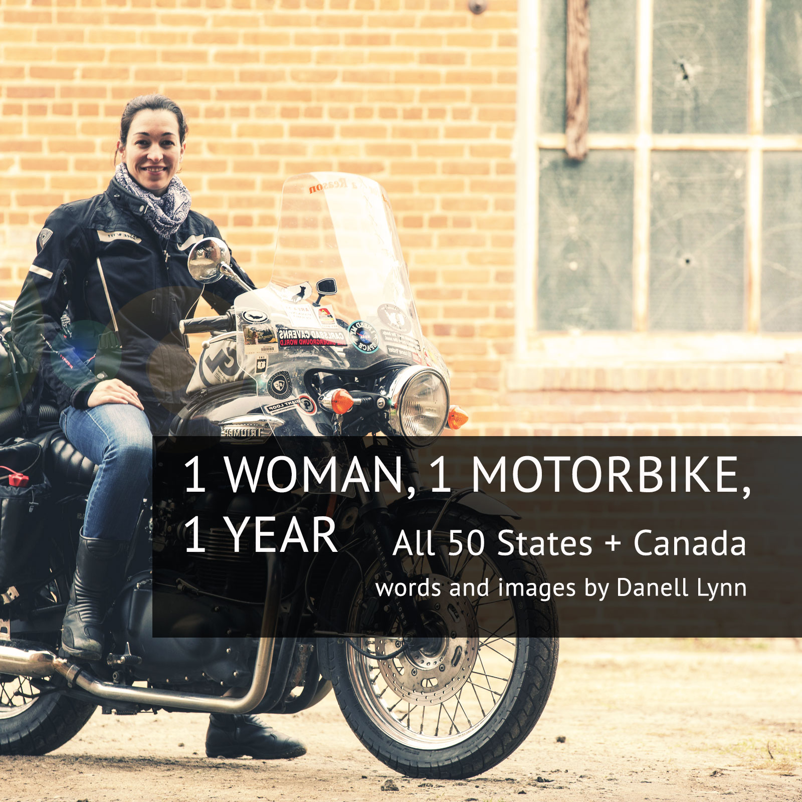 Motorbike Woman Danell Lynn, world record holder. long distance motorcycle rider on Triumph Bonneville. Photo by Triumph America
