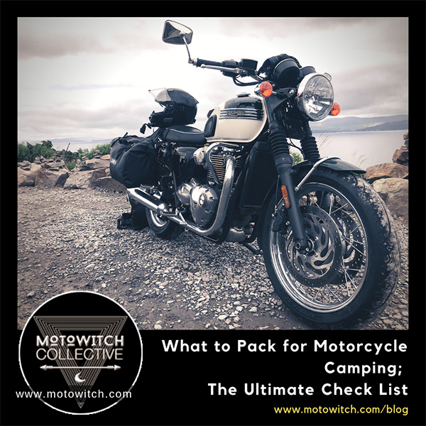 2019 Triumph T120 with HJC helmet and gopro 7 mounted plus lomo pannier bags. Parked on cliff on Wild Atlantic Way in Kerry, Ireland. What to pack for motorcycle camping