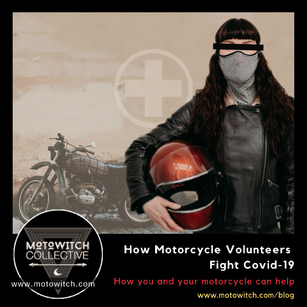 woman motorcycle volunteer wearing covid 19 mask holding retro biltwell helmet
