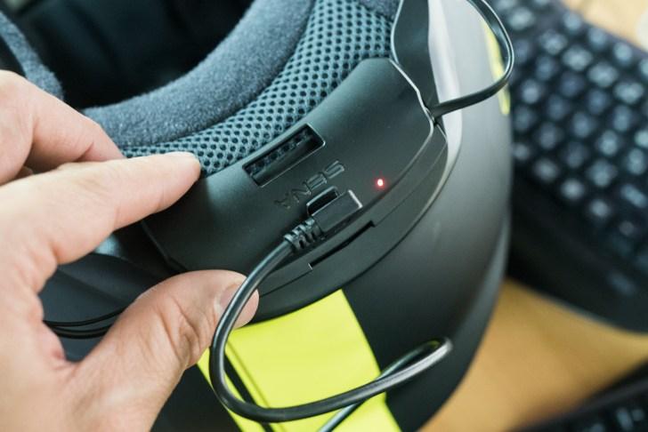 充電はヘルメットに装着した状態でしかできない