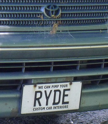 RYDE, a vanity plate from New Zealand