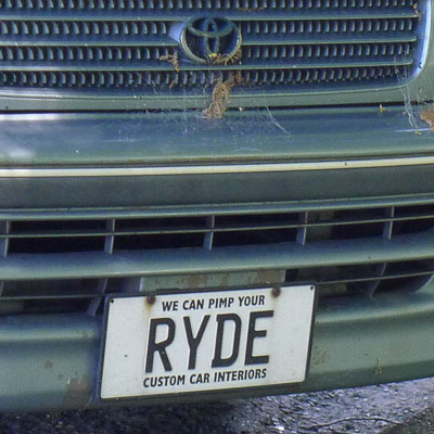 "RYDE, a vanity plate from New Zealand. ""We can pimp your RYDE Custom car interiors."""