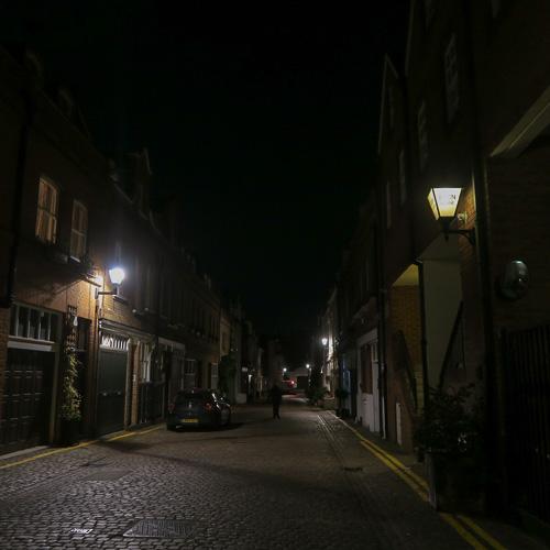 Adam and Eve Mews in Kensington, London at night