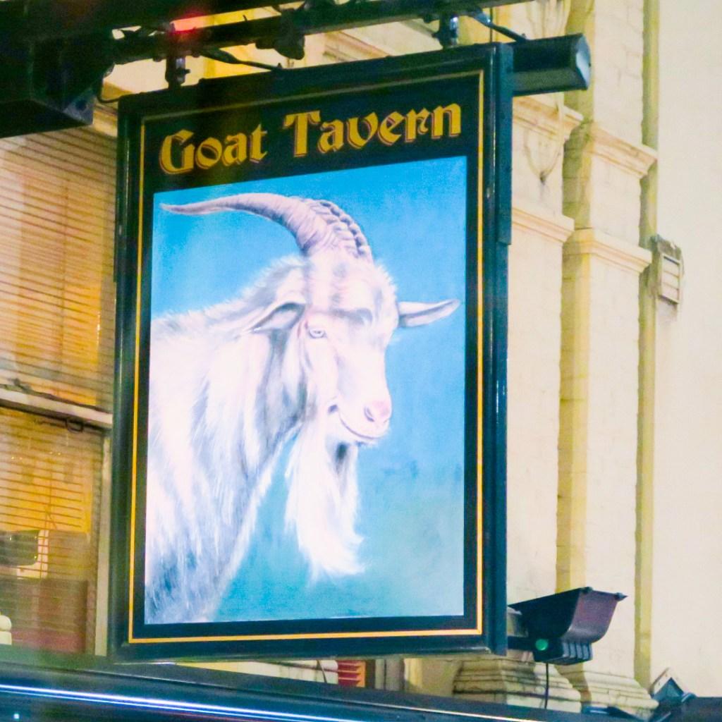 The Goat Tavern pub sign in Kensington, London