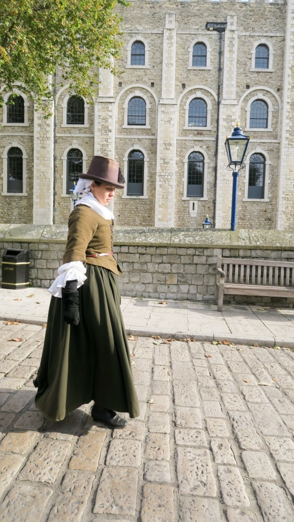 An educator at the Tower of London in an outfit similar to one Pocahontas wore in London in 1616