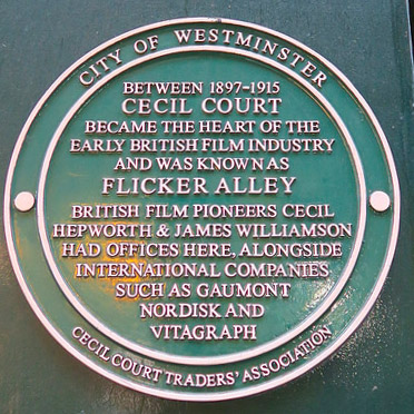 Plaque about Cecil Court and the British film industry