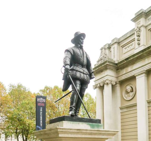 Sir Walter Raleigh statue at Greenwich, England
