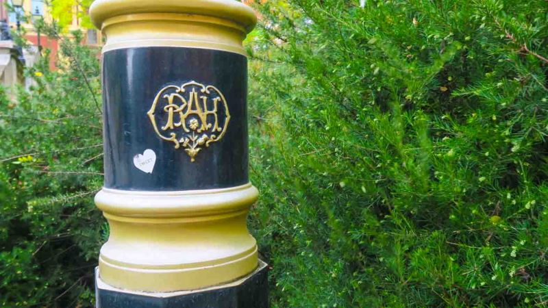 Lamp post with the initials RAH for Royal Albert Hall