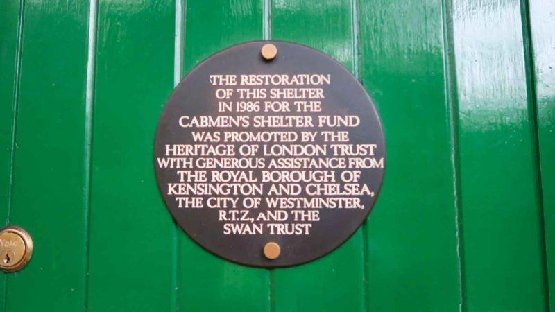 Cabmen's Shelter Fund hut plaque, Kensington