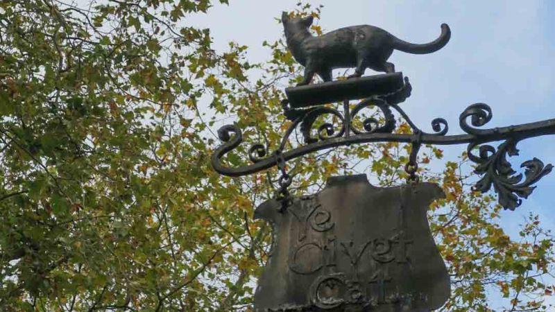 The sign of The Civet Cat in Kensington