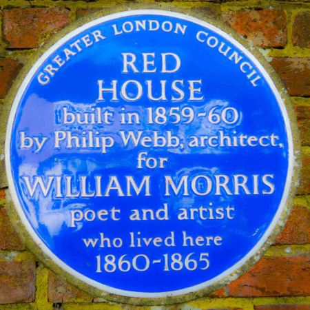 Blue plaque at the Red House where William Morris lived