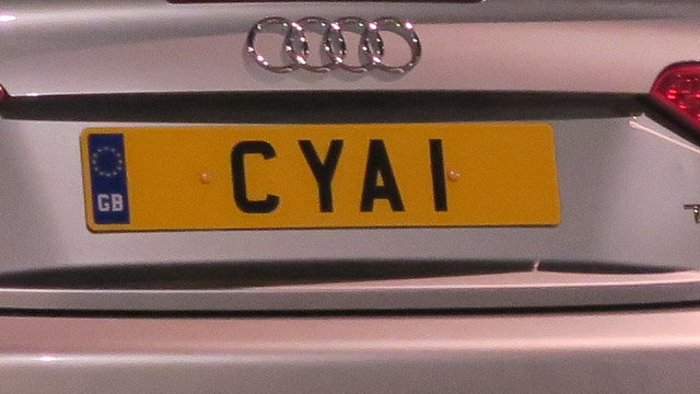 C Y A I vanity plate may be someone's initials but my first thought was CYA 1 instead. What do you think?