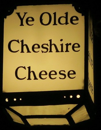 Sign of Ye Olde Cheshire Cheese, one of London's most famous old pubs