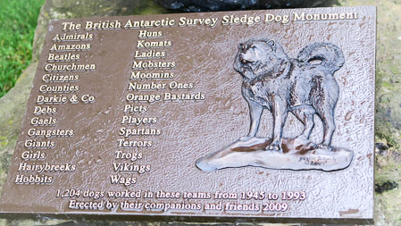 Plaque on the sled dog monument at the Scott Polar Research Institute, Cambridge   Jill Browne