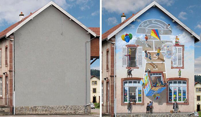Increíbles fachadas pintadas que te harán dudar si son reales 30
