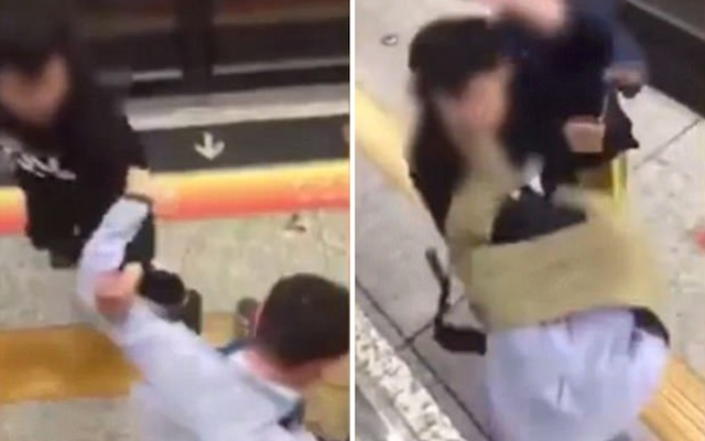 CHINA BEATDOWN: Man Beats a Subway Perv who Squeezed His Girlfriend's Butt