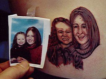 Tatoo mom and daughter