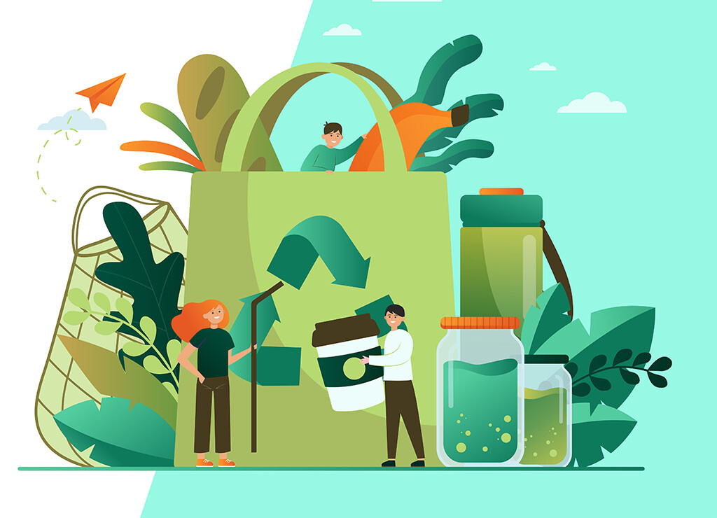 People packing organic food into eco bag