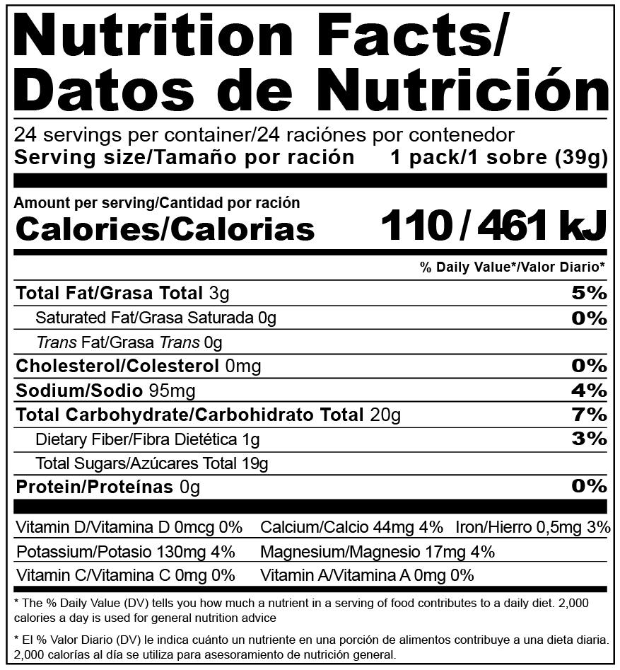 Etiqueta Nutricional Gel Natural a base de chía y frutas MouK ENERGY.