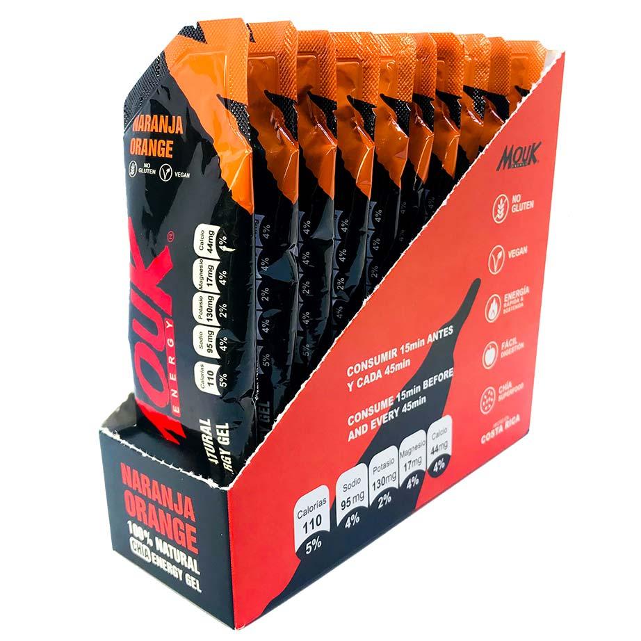 10 Geles Energéticos Naturales MouK ENERGY Sabor Naranja.