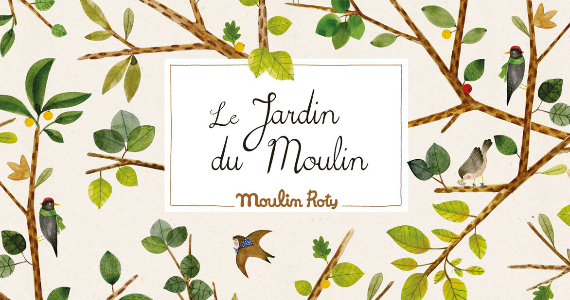 le jardin du moulin with illustrations of birds trees and leaves - memoire d'enfant moulin roty