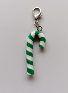 Green candy cane stitch marker
