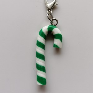 Green candy cane stitch marker