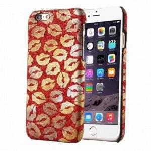 telefoonhoesje rood met gouden mondjes kusjes