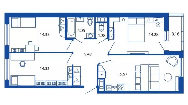 Распашонка планировка квартиры – Готовый дизайн проект 2 ...