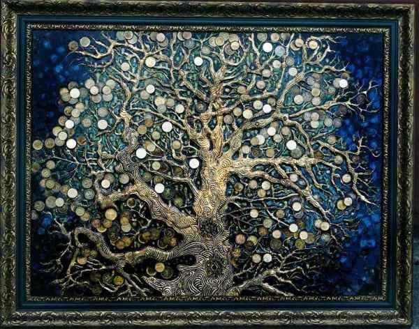 Картина денежное дерево своими руками из монет фото ...