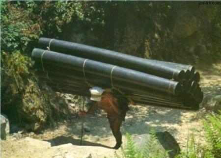 Porter with PVC sewage pipe