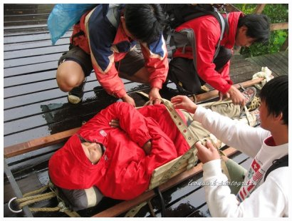 Porters preparing for an injured climber