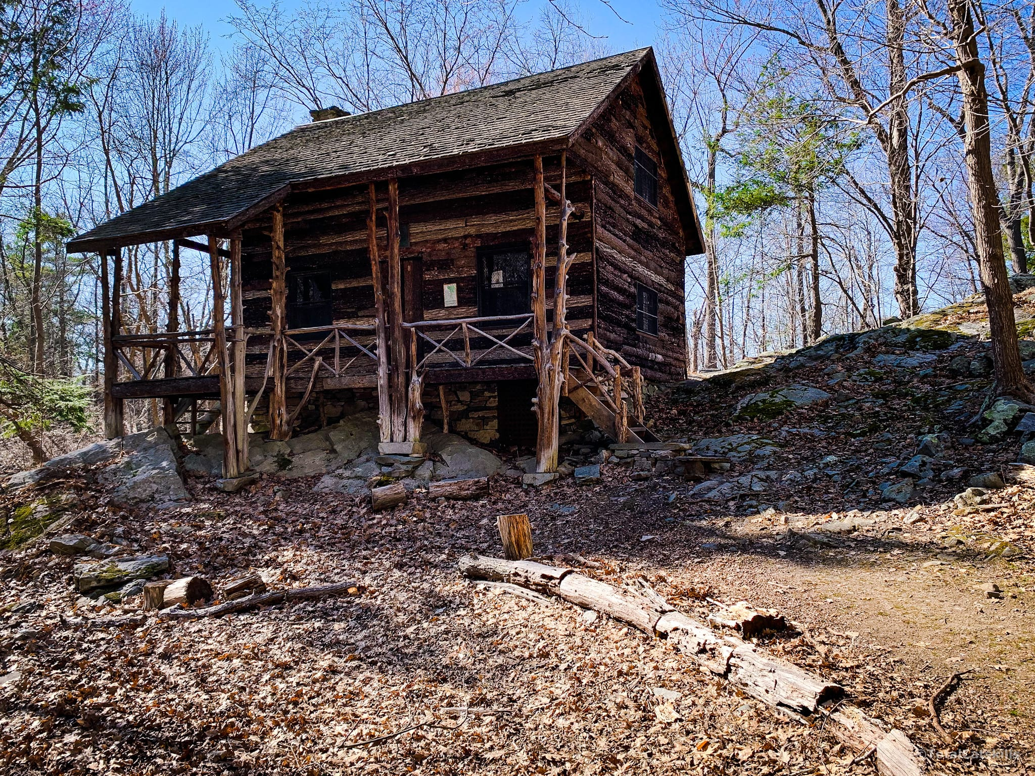 wooden cabin, two stories