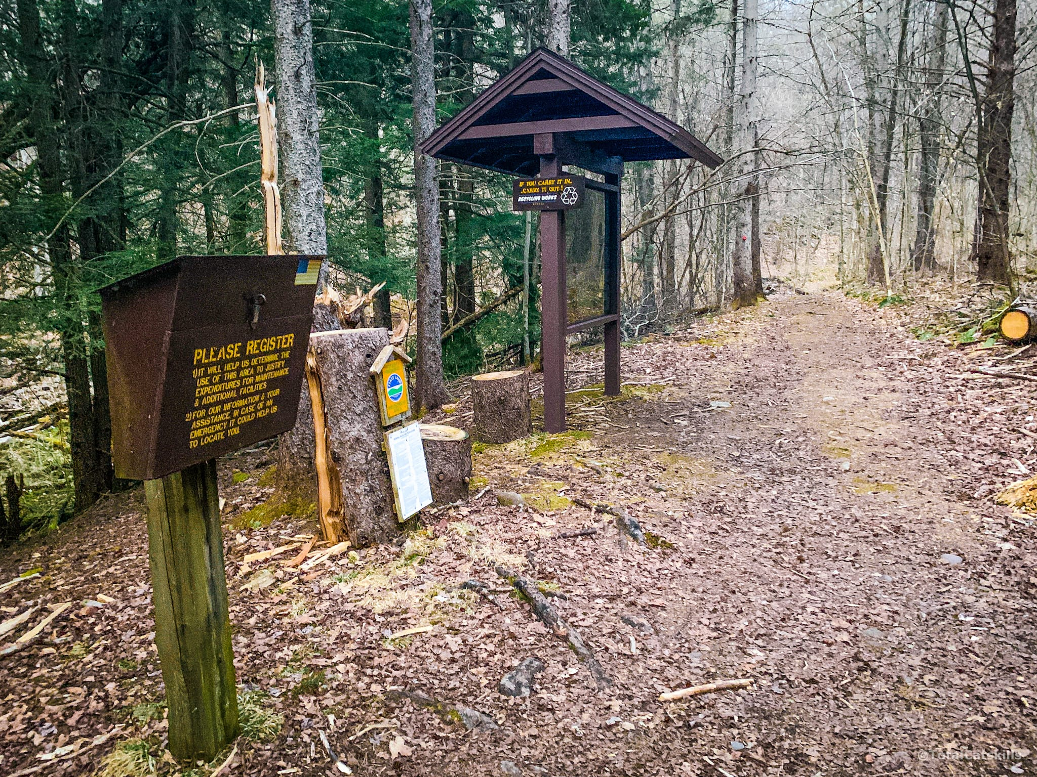trailhead register and information board