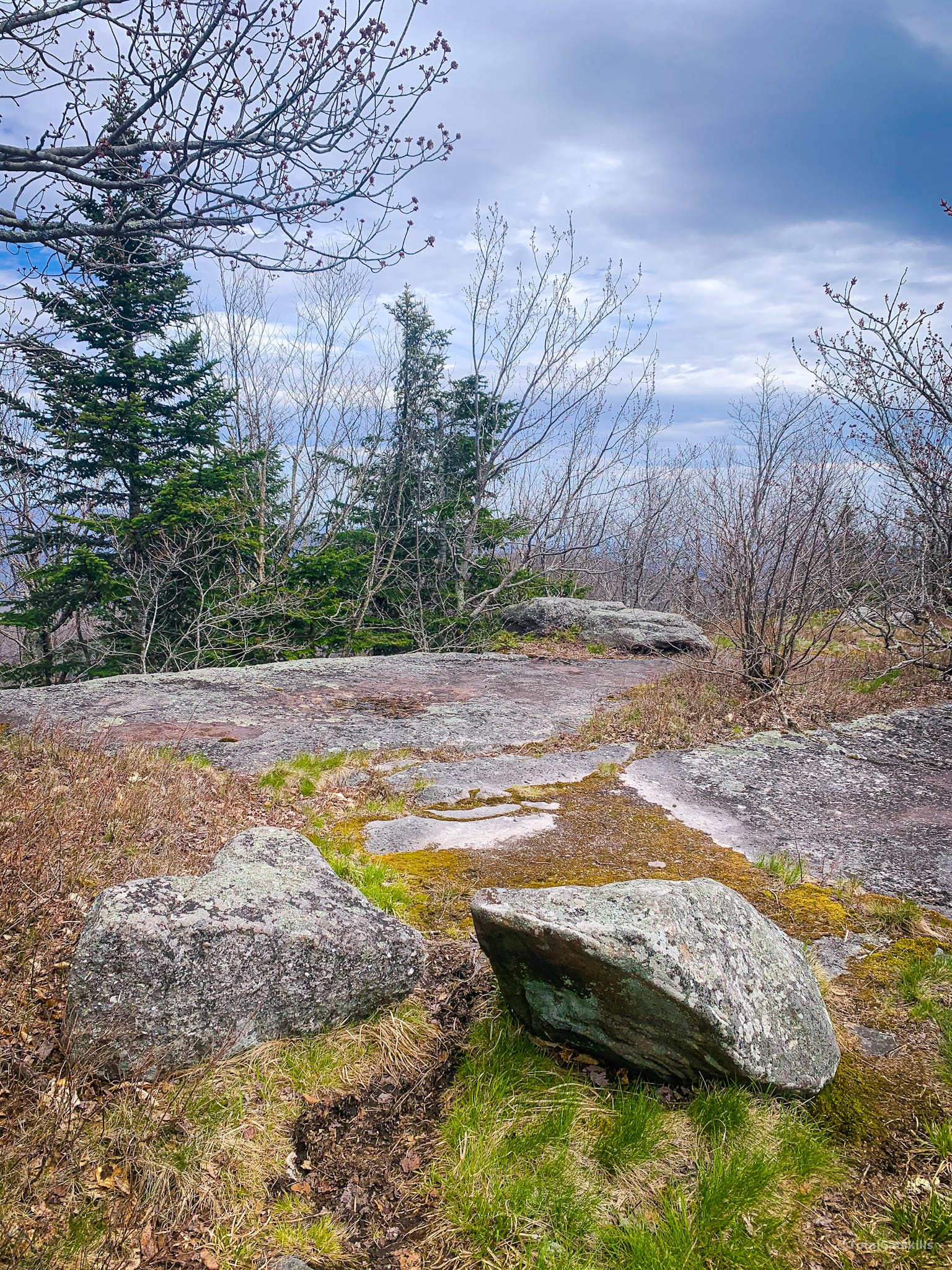 flat area, two boulders