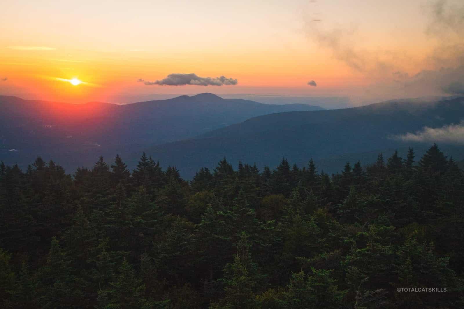 dawn over mountain range