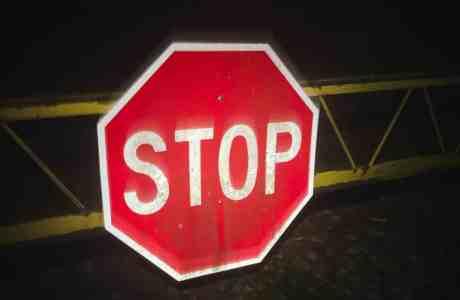 stop sign at night
