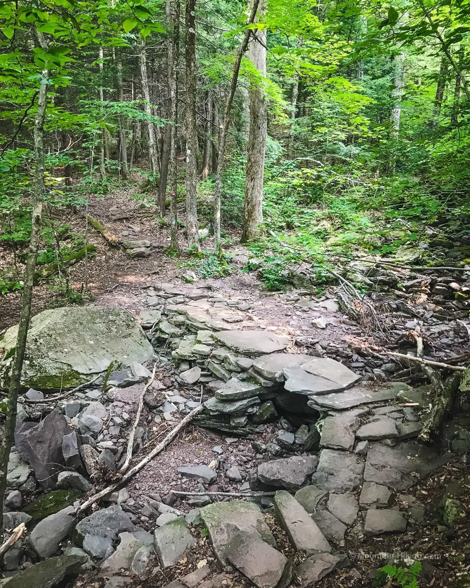 rock footbridge in woods