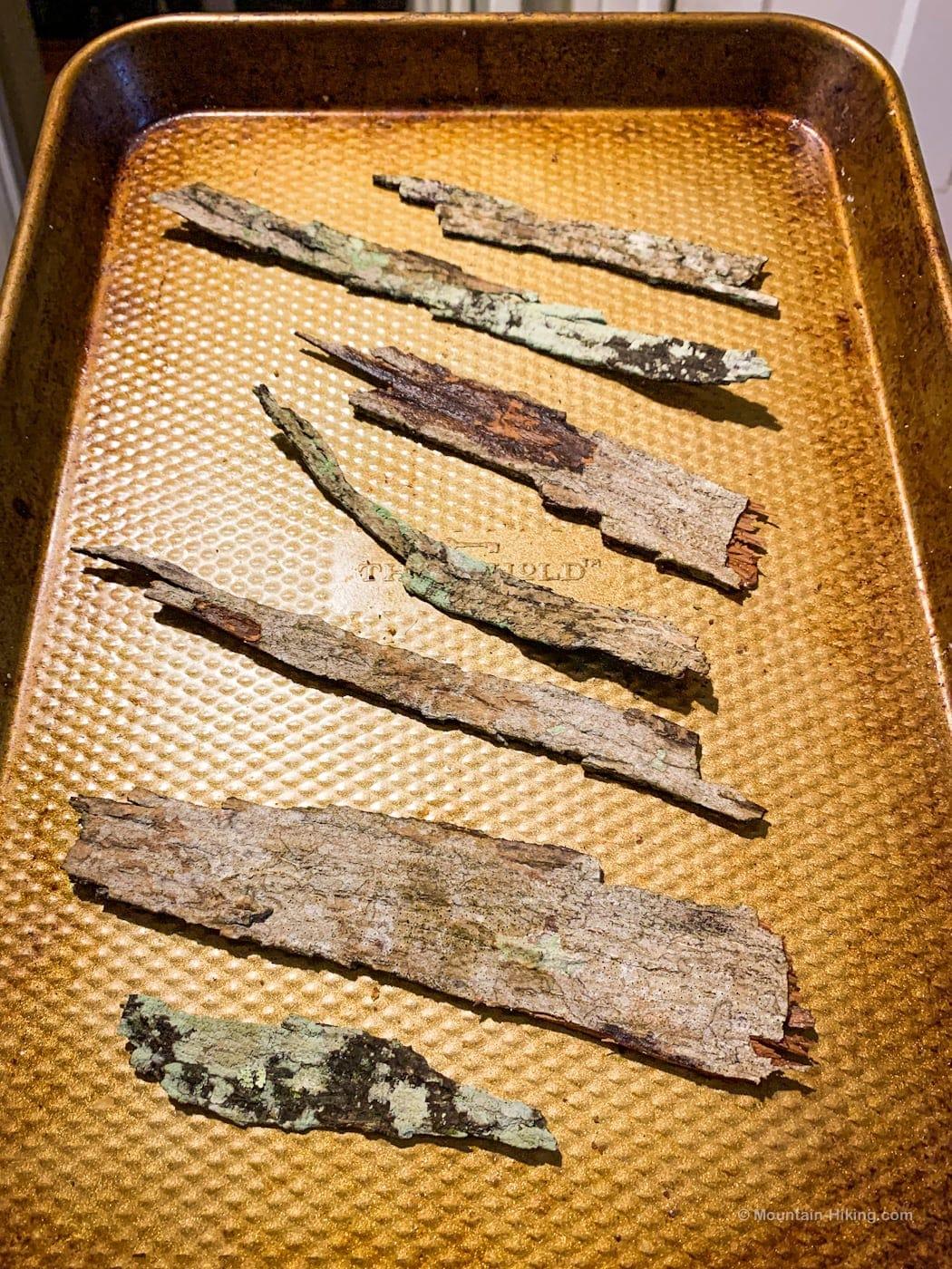 shagbark hickory on a roasting tray