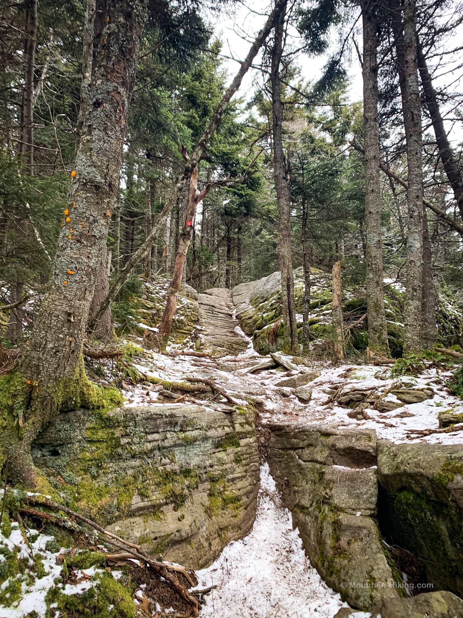small rock ledge on mountain ridge