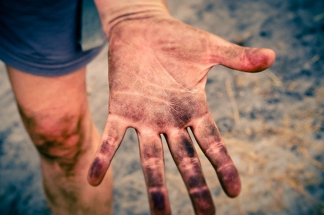 dirty oily hand