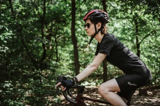 biking with helmet