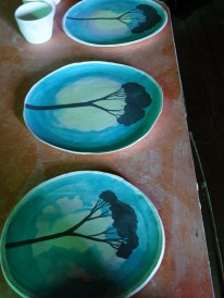 Plates waiting to be fired