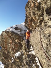"""Nigel Lewis crossing """"The Passage of the Guides"""" Sierra Nevada."""