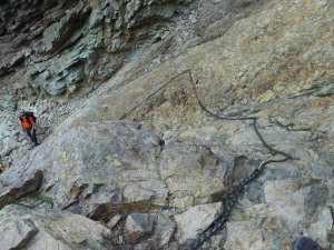 a section of chain on the Cirque de la Solitude GR20